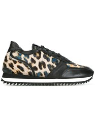 Le Silla Leopard Panel Sneakers Black