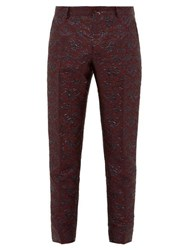 Dolce And Gabbana Swirling Brocade Twill Tuxedo Trousers Burgundy