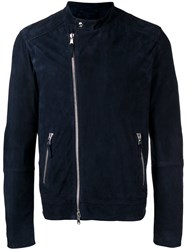 Eleventy Slim Fitting Biker Jacket With Silver Tone Hardware Blue