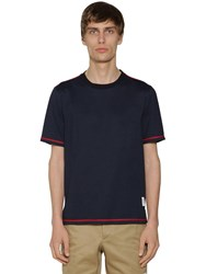 Thom Browne Cotton Jersey T Shirt W Side Slits Navy