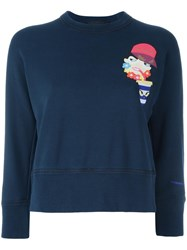Dsquared2 Drinking Decal Cropped Sweatshirt Blue