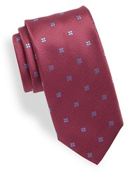 Hugo Micro Dot And Floral Silk Tie Red