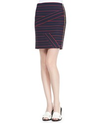 Band Of Outsiders Striped Side Zip Knit Skirt Blue Red