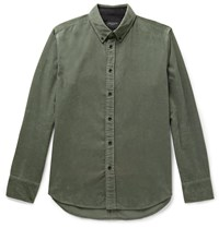 Rag And Bone Tomlin Fit 2 Slim Fit Button Down Collar Cotton Corduroy Shirt Green