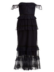 Jonathan Simkhai Strapless Ruffled Tulle Dress Navy