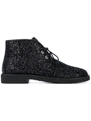 Giuseppe Zanotti Design Glitter Effect Boots Women Leather Polyester Rubber 36 Black