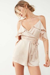 Kimchi And Blue Sateen Ruffle Wrap Romper Rose