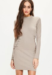Missguided Brown High Neck Lace Up Side Dress Grey
