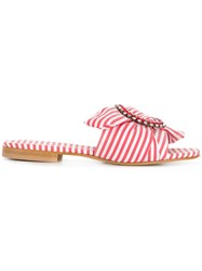 Emanuela Caruso Striped Mules Red