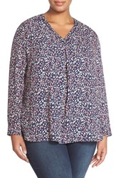 Plus Size Women's Halogen Long Sleeve Drop Stitch Detail Blouse Navy Red Buds Print