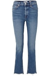 Re Done Double Needle Long Frayed High Rise Slim Leg Jeans Mid Denim