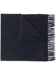 Canada Goose Fringed Knitted Scarf Blue