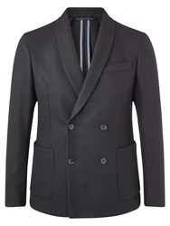 Jigsaw Pique Wool Double Breasted Shawl Blazer Black