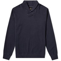 Beams Plus Shawl Collar Sweat Blue