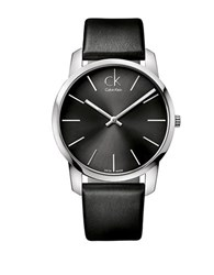 Calvin Klein Mens Swiss City Stainless Steel Black Leather Strap Watch