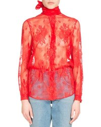 Balenciaga Lace Scarf Tie Blouse Red