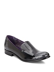 Robert Graham Prince Leather Loafers Black Silver