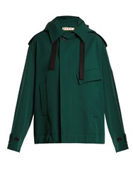 Marni Oversized Bonded Wool And Cotton Blend Coat Green