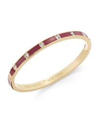 Kate Spade New York Gold Tone Crystal Enamel Hinged Bangle Bracelet Clear Purple