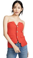 Laveer Button Up Bustier Top Red