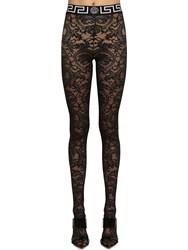 Versace Stretch Lace Footed Leggings Black