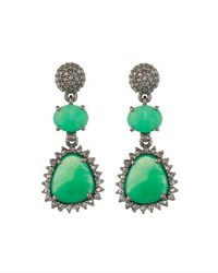 Bavna Chrysoprase And Champagne Diamond Triple Drop Earrings