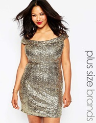 Club L Plus Size Bardot Dress In Sequins Gold