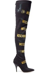 Moschino Printed Stretch Neoprene Over The Knee Boots Black