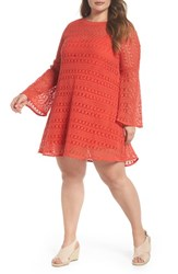 Elvi Plus Size Women's The Dahlia Bell Sleeve Crochet Shift Dress Red