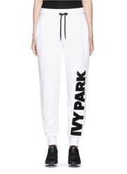 Ivy Park Chenille Logo Fleece Cotton Blend Sweatpants White
