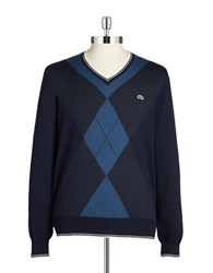 Lacoste Argyle V Neck Sweater Blue