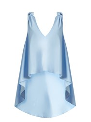 Natasha Zinko Waterfall Hem Sleeveless Cotton Poplin Top Light Blue