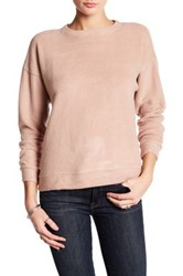 Bobeau Long Sleeve Knit Pullover Pink
