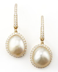 White South Sea Pearl And Diamond Framed Drop Earrings Yellow Gold Eli Jewels Blue