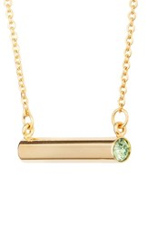 Stella Valle Vale August Crystal Bar Pendant Necklace Gold