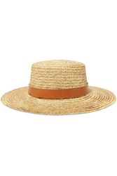 Lack Of Color Spencer Leather Trimmed Straw Hat Tan