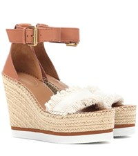 See By Chloe Leather And Canvas Wedge Sandals Brown