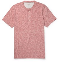 Faherty Slim Fit Melange Cotton Blend Jersey Henley T Shirt Red