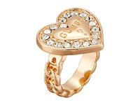 Guess Stone Framed Logo Heart Ring Gold Crystal Ring