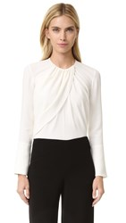 Derek Lam Long Sleeve Ruched Blouse Silk White