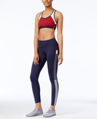 Tommy Hilfiger Colorblocked Sports Bra Only At Macy's Red Combo