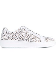 Alaia Laser Cut Leather Sneakers White