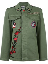 History Repeats Floral Embroidery Military Jacket Green