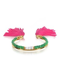Aurelie Bidermann 18K Gold Plated And Green Jaspe And White Bamboo Beads Sioux Bracelet W Pink Cotton Tassels