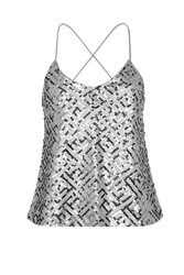 Wyldr Wise Up Silver Sequin Camisole Top By Silver