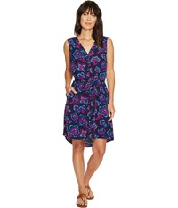 Hatley Split Neck Shirtdress Navy Folk Floral Women's Dress