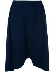 Issey Miyake Cauliflower Ribbed Drop Crotch Trousers Women Polyester One Size Blue