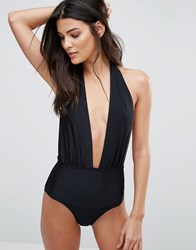 South Beach Deep Plunge Swimsuit Black