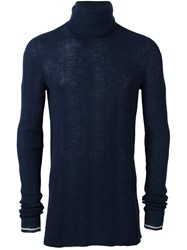 Lanvin Irregular Ribs Turtle Neck Sweater Blue