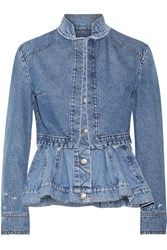 Alexander Mcqueen Layered Denim Peplum Jacket Mid Denim